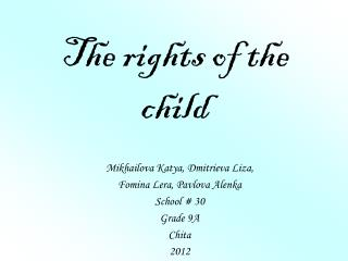 The rights of the child