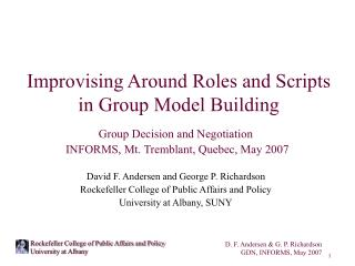 Improvising Around Roles and Scripts  in Group Model Building