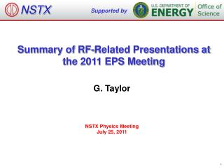 Summary of RF-Related Presentations at the 2011 EPS Meeting