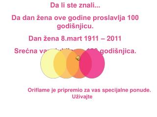 Da li ste znali... Da dan žena ove godine proslavlja 100 godišnjicu. Dan žena 8.mart 1911 – 2011