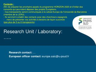 Research Unit / Laboratory: …..