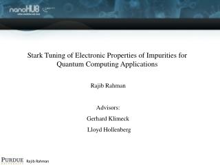 Stark Tuning of Electronic Properties of Impurities for Quantum Computing Applications