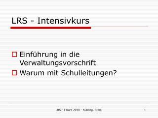 LRS - Intensivkurs