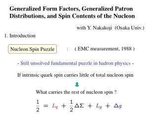 Generalized Form Factors, Generalized Patron Distributions, and Spin Contents of the Nucleon