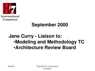September 2000 Jane Curry - Liaison to:  Modeling and Methodology TC Architecture Review Board