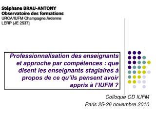 Colloque CD IUFM Paris 25-26 novembre 2010