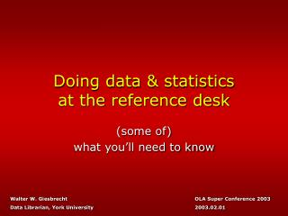 Doing data  statistics at the reference desk