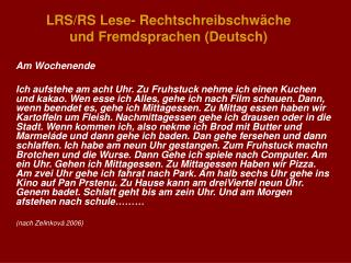 LRS/RS Lese- Rechtschreibschw�che  und Fremdsprachen (Deutsch)