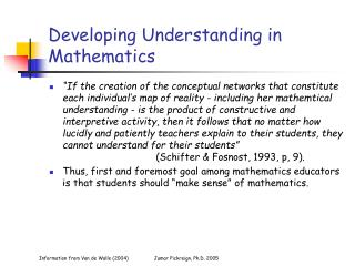 Developing Understanding in Mathematics