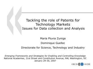 Tackling the role of Patents for  Technology Markets  Issues for Data collection and Analysis