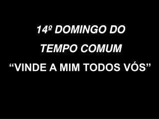"""14º DOMINGO DO TEMPO COMUM """"VINDE A MIM TODOS VÓS"""""""