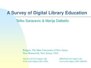 A Survey of Digital Library Education