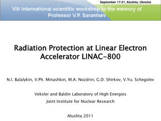 Radiation Protection at Linear Electron Accelerator LINAC-800