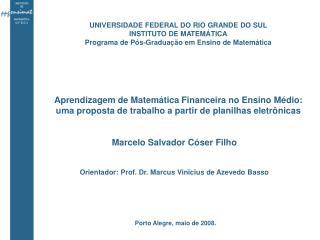 Aprendizagem de Matemática Financeira no Ensino Médio: