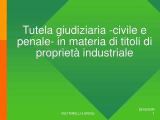 Tutela giudiziaria -civile e penale- in materia di titoli di proprietà industriale