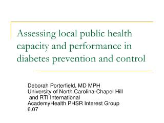 Assessing local public health capacity and performance in diabetes prevention and control