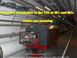 Detectors installation in the TAN at IR1 and IR5:  status and planning