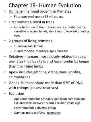 Chapter 19- Human Evolution
