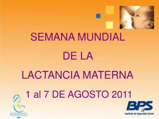 SEMANA MUNDIAL  DE LA  LACTANCIA MATERNA 1 al 7 DE AGOSTO 2011