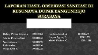LAPORAN HASIL OBSERVASI SANITASI DI RUSUNAWA  DUPAK BANGUN REJO  SURABAYA