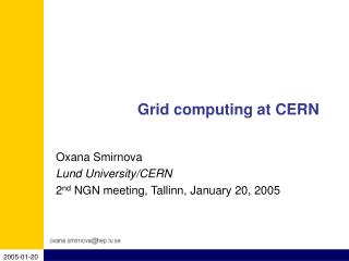 Grid computing at CERN