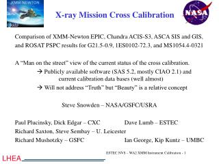 X-ray Mission Cross Calibration