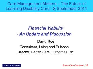 Care Management Matters – The Future of Learning Disability Care - 8 September 2011