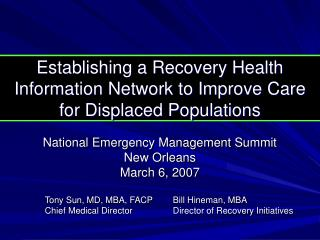Establishing a Recovery Health Information Network to Improve Care for Displaced Populations