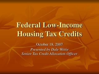 Federal Low-Income Housing Tax Credits