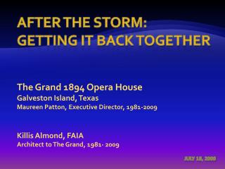 After the Storm:  Getting it back together