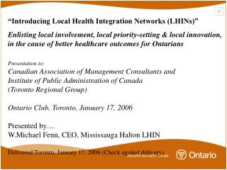 """""""Introducing Local Health Integration Networks (LHINs)"""""""