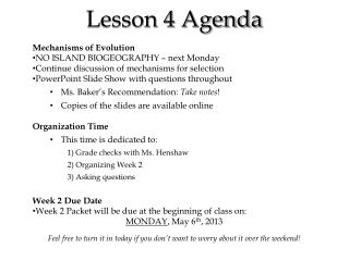 Lesson 4 Agenda