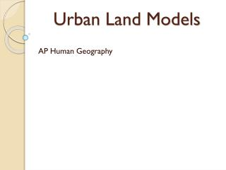 Urban Land Models