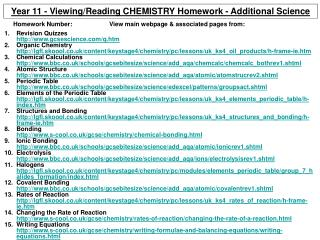 Year 11 - Viewing/Reading CHEMISTRY Homework - Additional Science