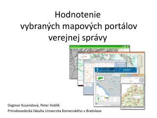 Hodnotenie  vybraných mapových portálov  verejnej správy