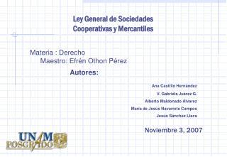 Ley General de Sociedades Cooperativas y Mercantiles