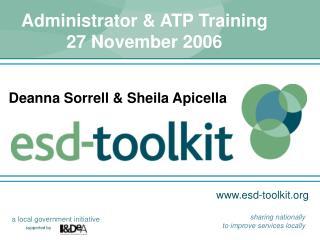 Administrator & ATP Training 27 November 2006