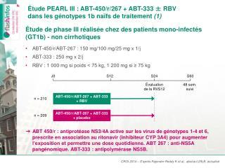 Étude PEARL III : ABT-450/r/267 + ABT-333 ± RBV  dans les génotypes 1b naïfs de traitement  (1)