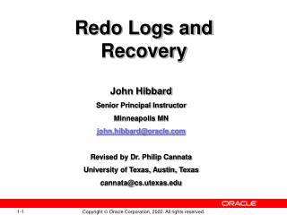 Redo Logs and Recovery