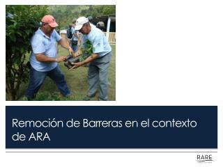 Remoci�n  de  Barreras  en el  contexto  de ARA