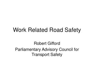 Work Related Road Safety