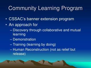 Community Learning Program