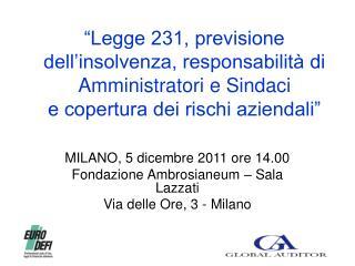 MILANO, 5 dicembre 2011 ore 14.00 Fondazione Ambrosianeum – Sala Lazzati Via delle Ore, 3 - Milano