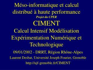 09/01/2002 - DRRT, Région Rhône-Alpes Laurent Desbat, Université Joseph Fourier, Grenoble