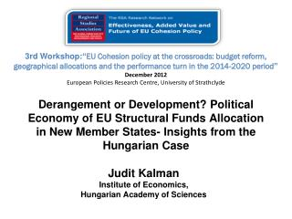 Judit Kalman Institute of Economics, Hungarian Academy of Sciences