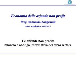 Economia delle aziende non profit Prof. Antonello  Zangrandi Anno accademico 2002-2013
