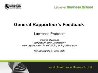 General Rapporteur's Feedback