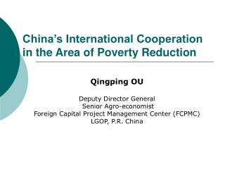 China's International Cooperation in the Area of Poverty Reduction