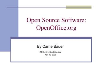 Open Source Software: OpenOffice