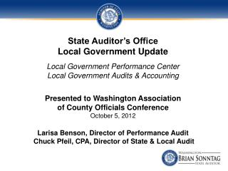 State Auditor's Office  Local Government Update
